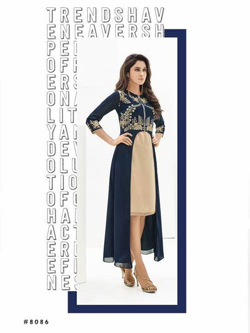 Blue and Beige Colored Beautiful Georgette Overlay Kurti with Heavy Embroidery.