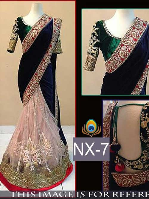 Blue and Beige Colored Gorgeous Velvet And Net Saree With Beautiful Blouse