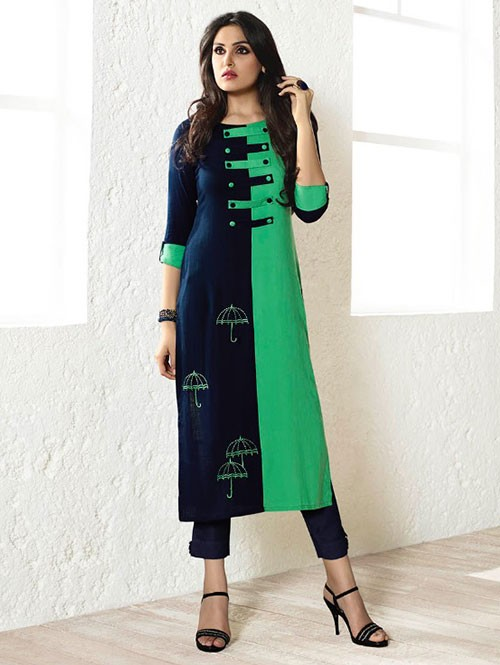 Blue And Green Colored Beautiful Embroidered Rayon Kurti