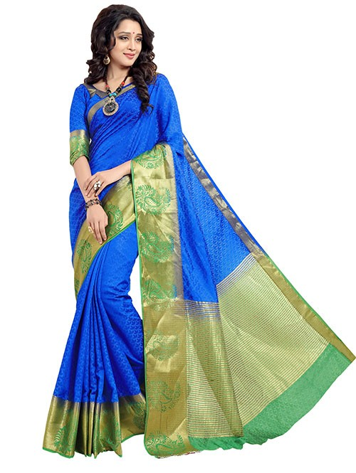 Blue and Green Colored Beautiful Jacquard Silk Saree