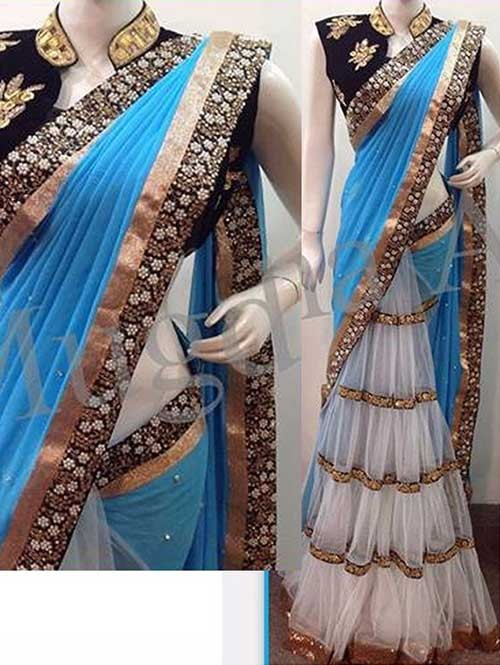 Blue and Off White Colored Beautiful Embroidered Nylon Mono Net and 60gm Georgette Saree