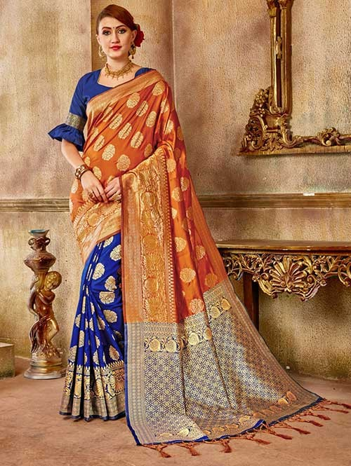 Blue and Orange colored Beautiful Banarasi Silk Saree