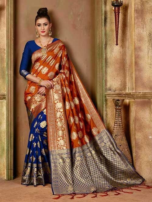 Blue and Orange colored Beautiful Banarasi Silk Saree
