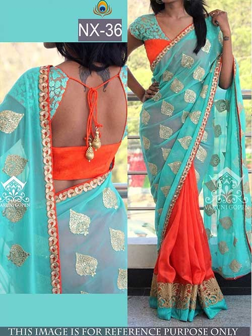 Blue and Orange Colored Beautiful embroidered Georgette Saree with Beautiful Blouse