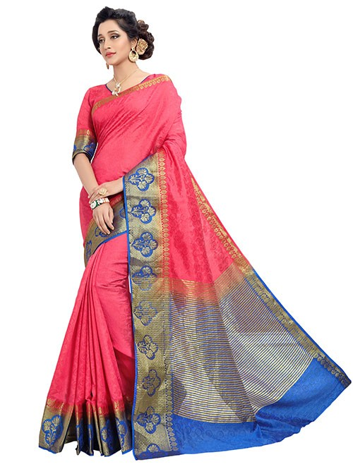 Blue and Peach Colored Beautiful Jacquard Silk Saree