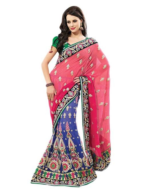 Blue and Peach colored Net Embroidery Patli Pure Georgette Pallu Lehenga Saree with Stone work