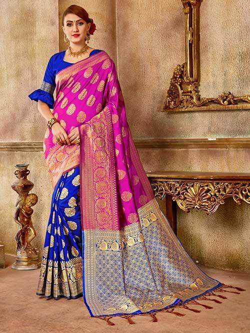 Blue and Pink colored Beautiful Banarasi Silk Saree