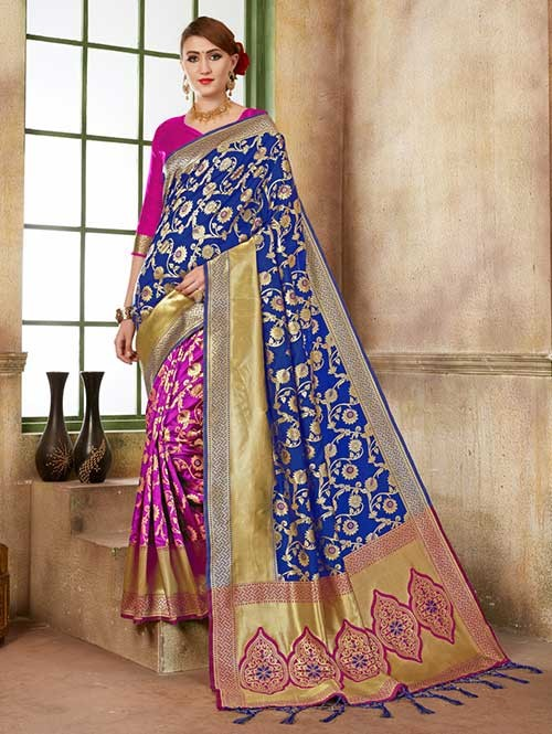 Blue and Pink colored Beautiful Banarasi Silk Saree