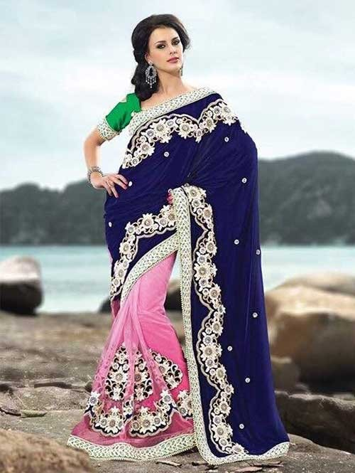 Blue and Pink Colored Beautiful Embroidered Pure Micro Velvet Pallu With net Patli Saree