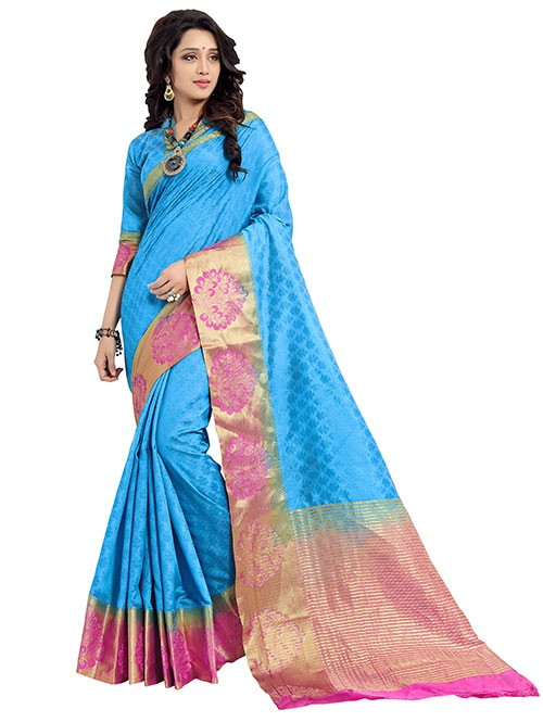 Blue and Pink Colored Beautiful Jacquard Silk Saree