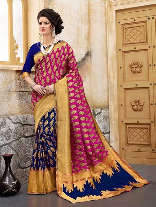 Blue and Pink Colored Beautiful Soft Banarasi Silk Fancy Saree Online