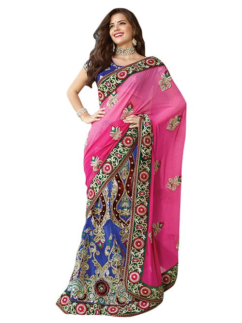 Blue and Pink Colored Net Patli with Embroidery and satin inner Georgette pallu Lehenga Saree with stone work