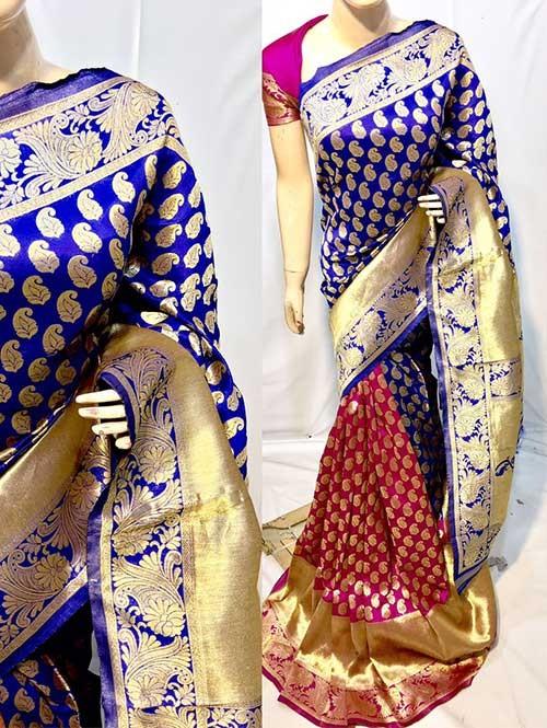 Blue and Pink Colored New Arrival Banarasi Silk Saree