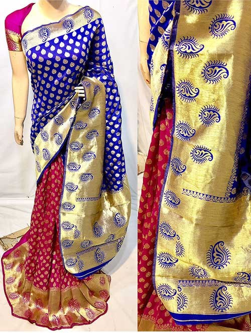 Blue and Pink Colored New Arrival Banarasi Silk Saree