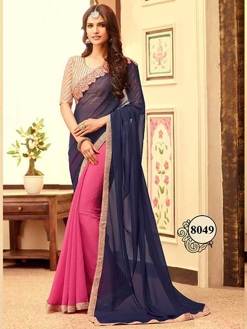 Blue and Pink Party Wear South Indian Half and Half Georgette Saree With Blouse