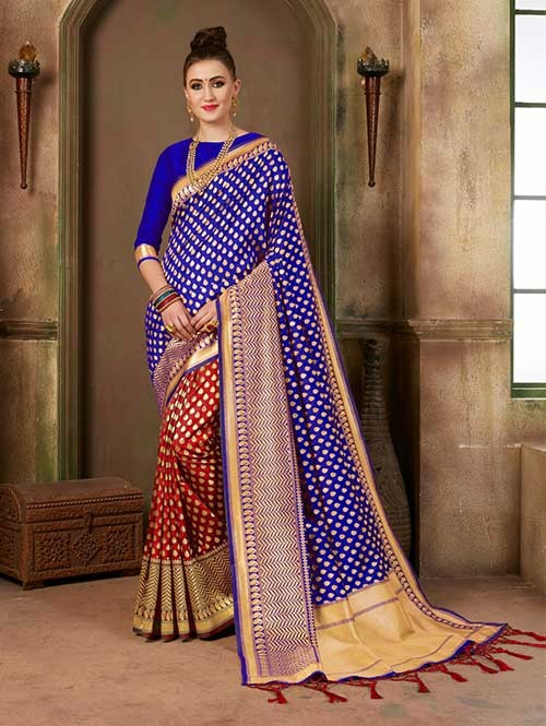 Blue and Red colored Beautiful Banarasi Silk Saree