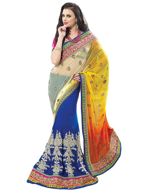 Blue and Yellow Colored Net Pallu With Heavy Embroidery and Georgette Patli Saree With Stonework