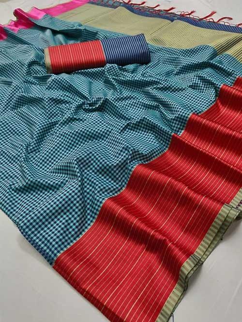 Blue Color Beautiful Chex Printed Banarasi Silk Saree