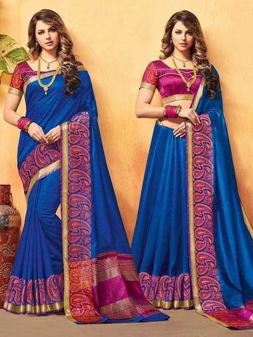 Blue Color Beautiful Cotton Silk Saree