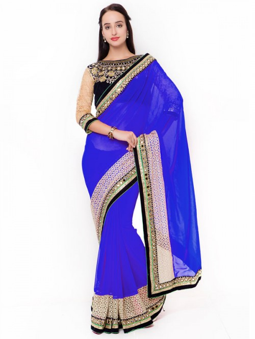 Blue Color Beautiful Georgette Saree with velvet embroidered Blouse