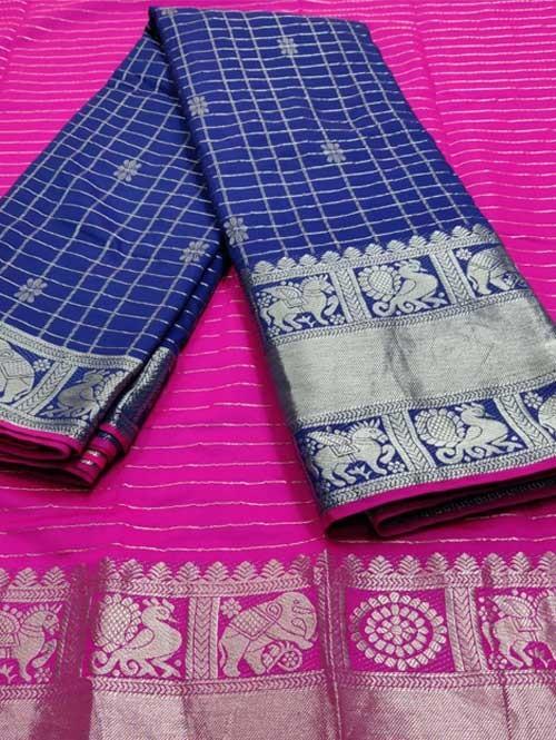 Blue Color Beautiful Silk Saree With Zari Weaving Border - Naksharta