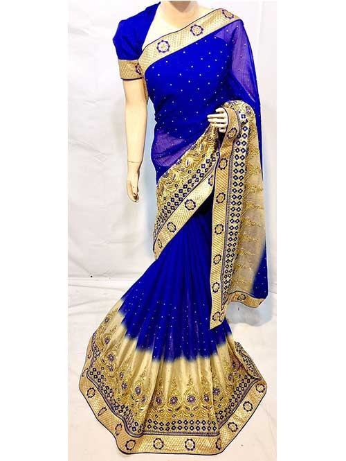 Blue Color Beautiful Soft Chiffon Fabric Saree With Two Tone Effect Also Have Embroidery and Stone Work