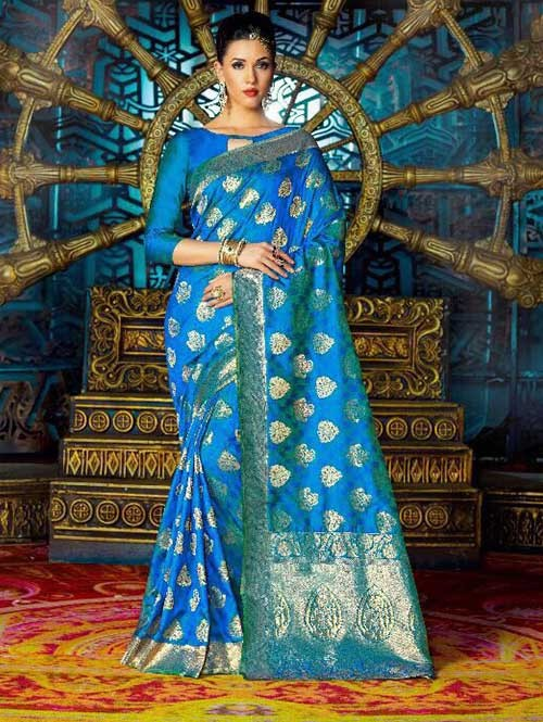Blue Color Beautiful Waving Silk Saree