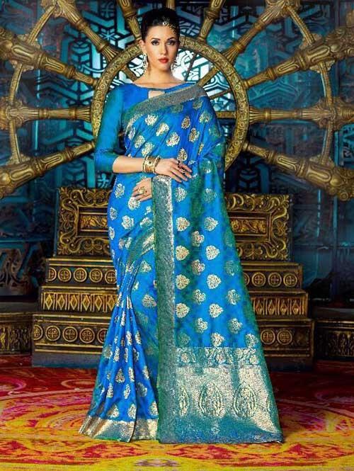 Blue Color Beautiful Waving Silk Saree