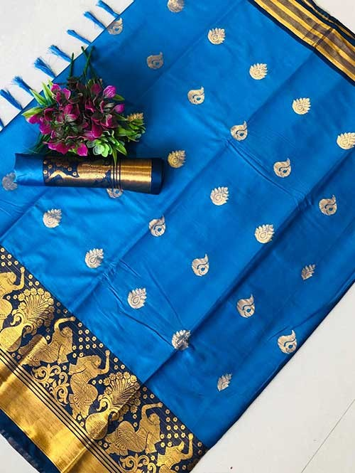 Blue Color Beautiful Weaving Cotton Silk Saree - Anmol