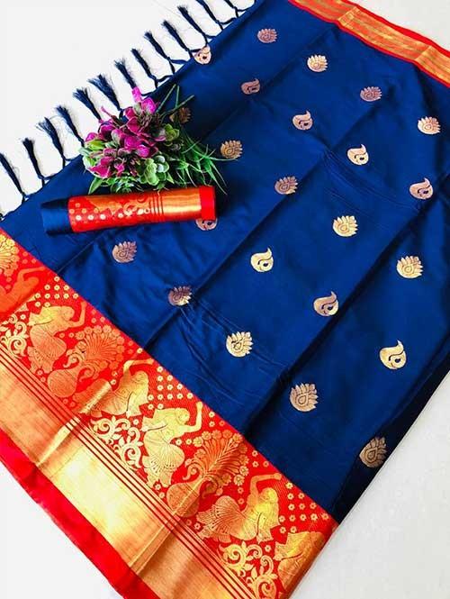 Blue Color Beautiful Weaving Cotton Silk Saree - Anmol