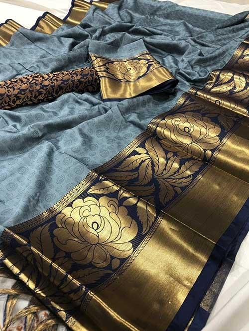 Blue Color Beautiful Weaving Cotton Silk Saree - Antique Rose