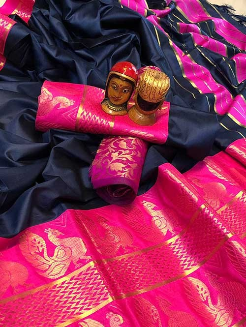 Blue Color Beautiful Weaving Cotton Silk Saree - Dollar