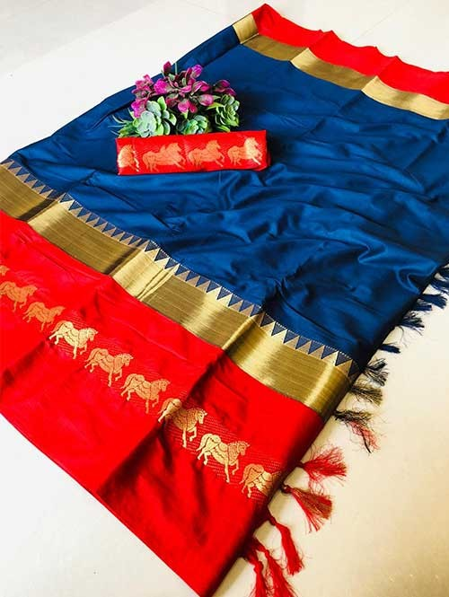 Blue Color Beautiful Weaving Cotton Silk Saree - Horse Ride