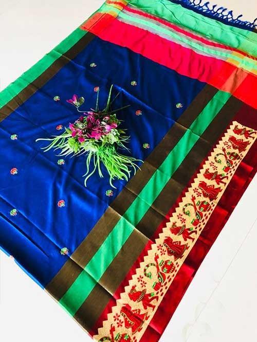 Blue Color Beautiful Weaving Cotton Silk Saree