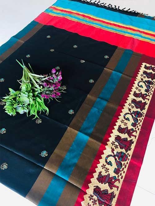 Blue Color Beautiful Weaving Cotton Silk Saree - Jaisalmer