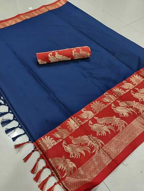 Blue Color Beautiful Weaving Cotton Silk Saree - Mahishmati
