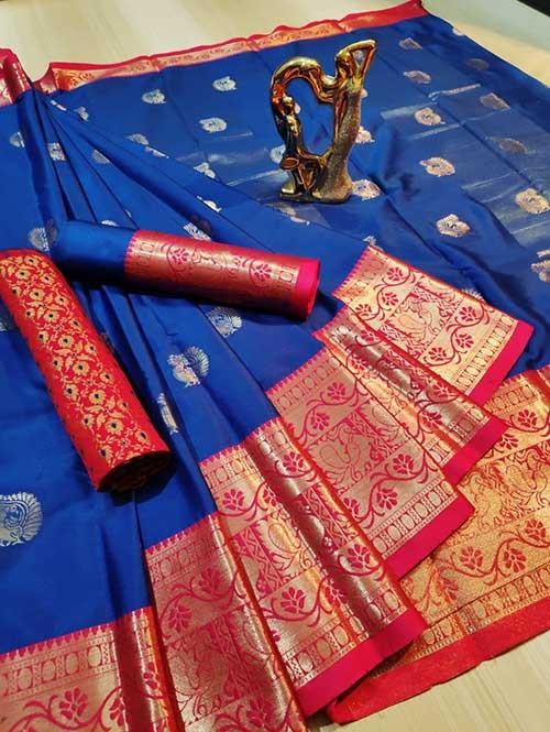 Blue Color Beautiful Weaving Cotton Silk Saree - Mahiya & Ashra