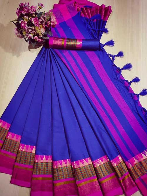 Blue Color Beautiful Weaving Cotton Silk Saree - Meena