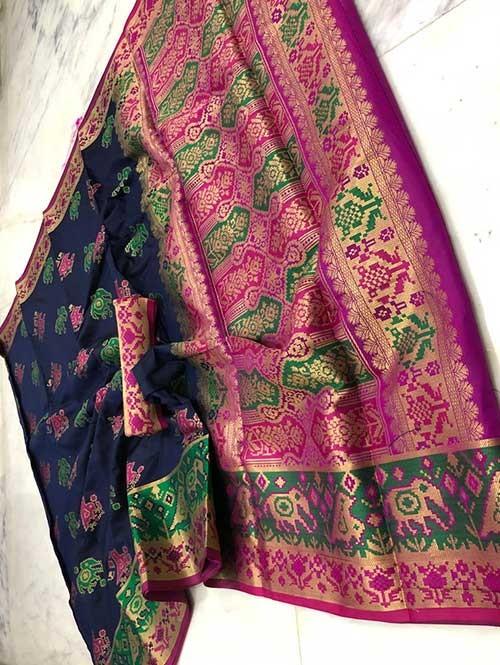 Blue Color Beautiful Weaving Cotton Silk Saree - Patola