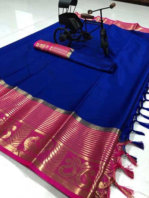 Blue Color Beautiful Weaving Cotton Silk Saree - Rupa