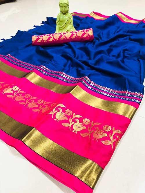 Blue Color Beautiful Weaving Cotton Silk Saree - Shawariya