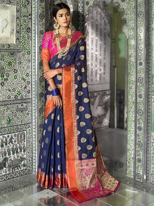 Blue Color Beautiful Weaving Silk Saree - Kaanch