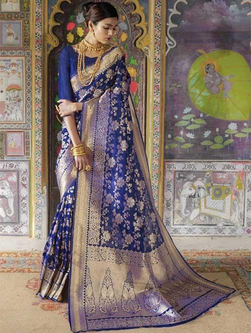 Blue Color Beautiful Weaving Silk Saree - Kailashi