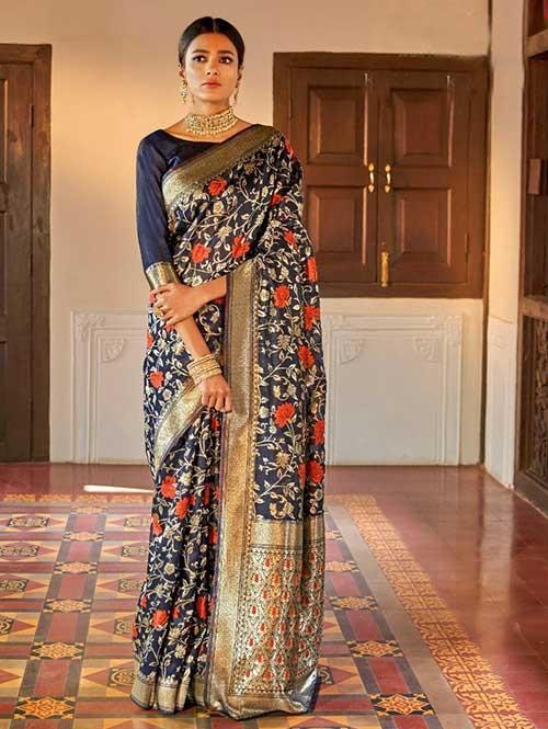 Blue Color Beautiful Weaving Silk Saree - Kanshula