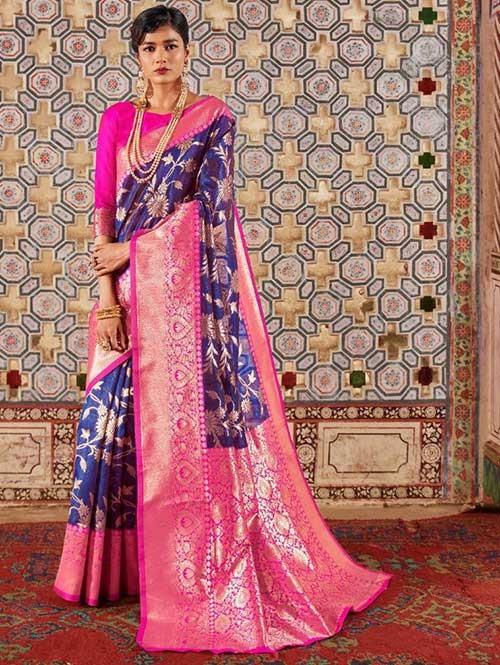 Blue Color Beautiful Weaving Silk Saree - Karveena