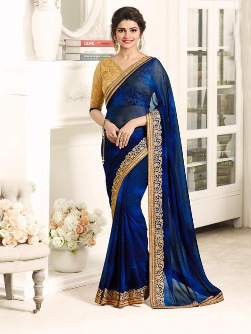 Navy Blue Color Georgeous Georgette saree with Blouse