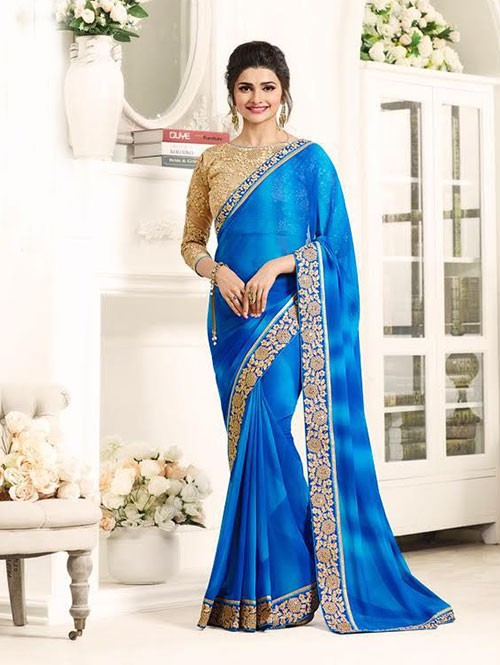 Blue Color Georgeous Georgette Saree with Blouse