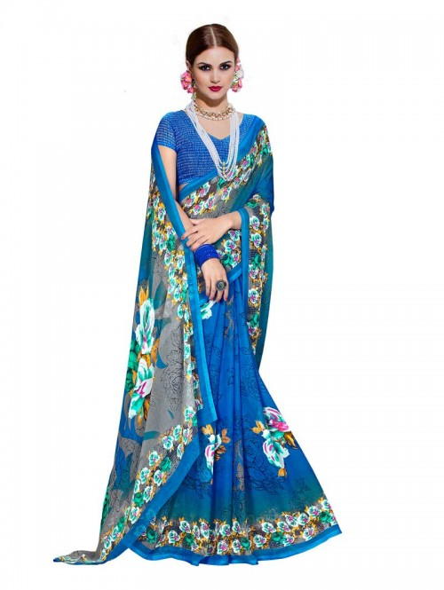 Blue Color floral Printed Beautiful weightless saree with Blouse 22021