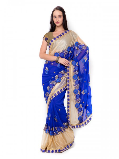 Blue Colored Beautiful Embroidered Georgette with Lycra Saree
