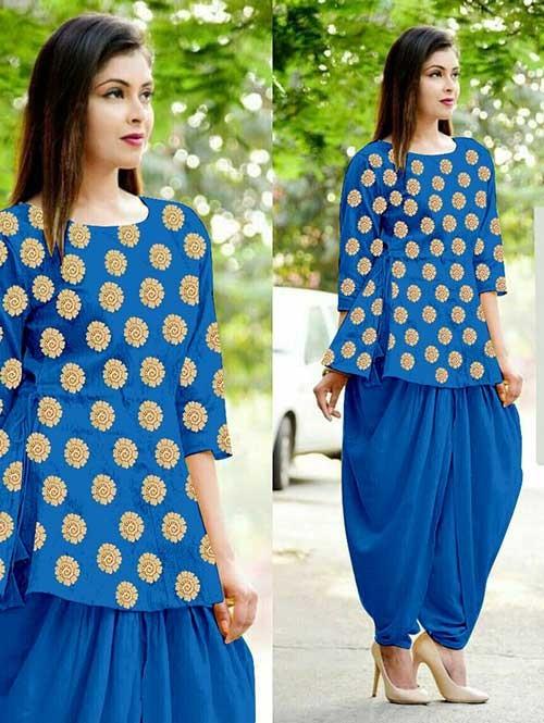 Blue Color Heavy Cotton Jacquard Patiyala Style Ready-made Suit - Bunaai 3